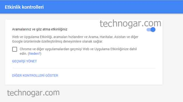 google arama geçmişi